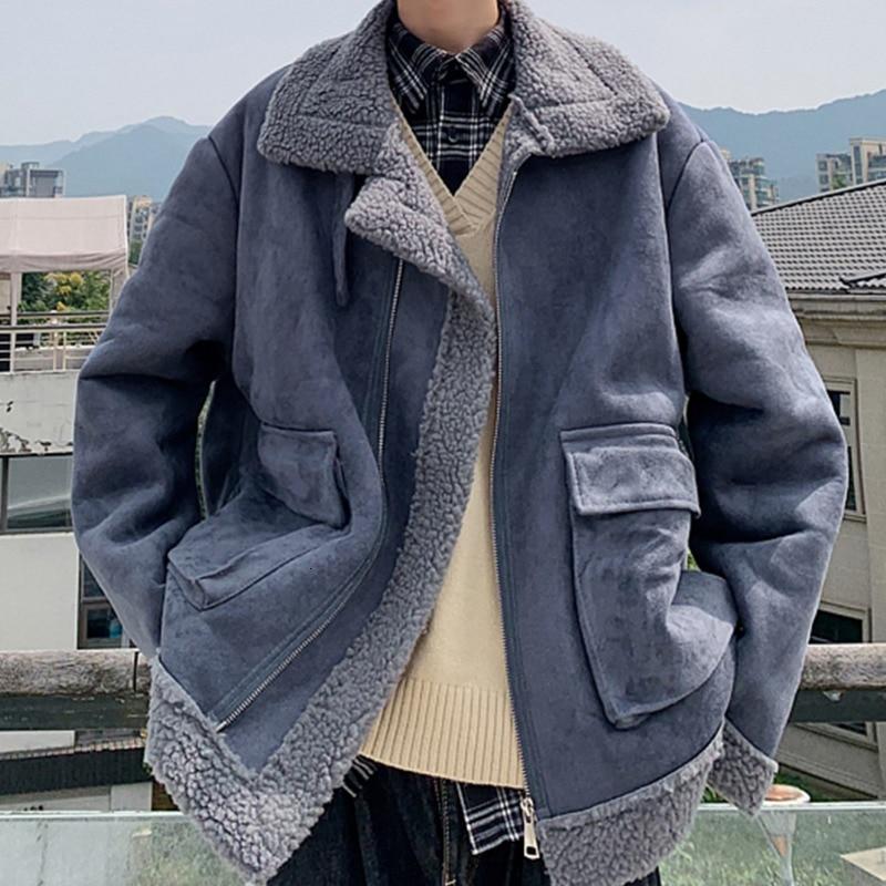 Winter Lamb Hair Jacket Men's Warm Thick Parka Men Fashion Fur Collar Coat Man Wild Loose Cotton Jacket Male Clothes Overcoat