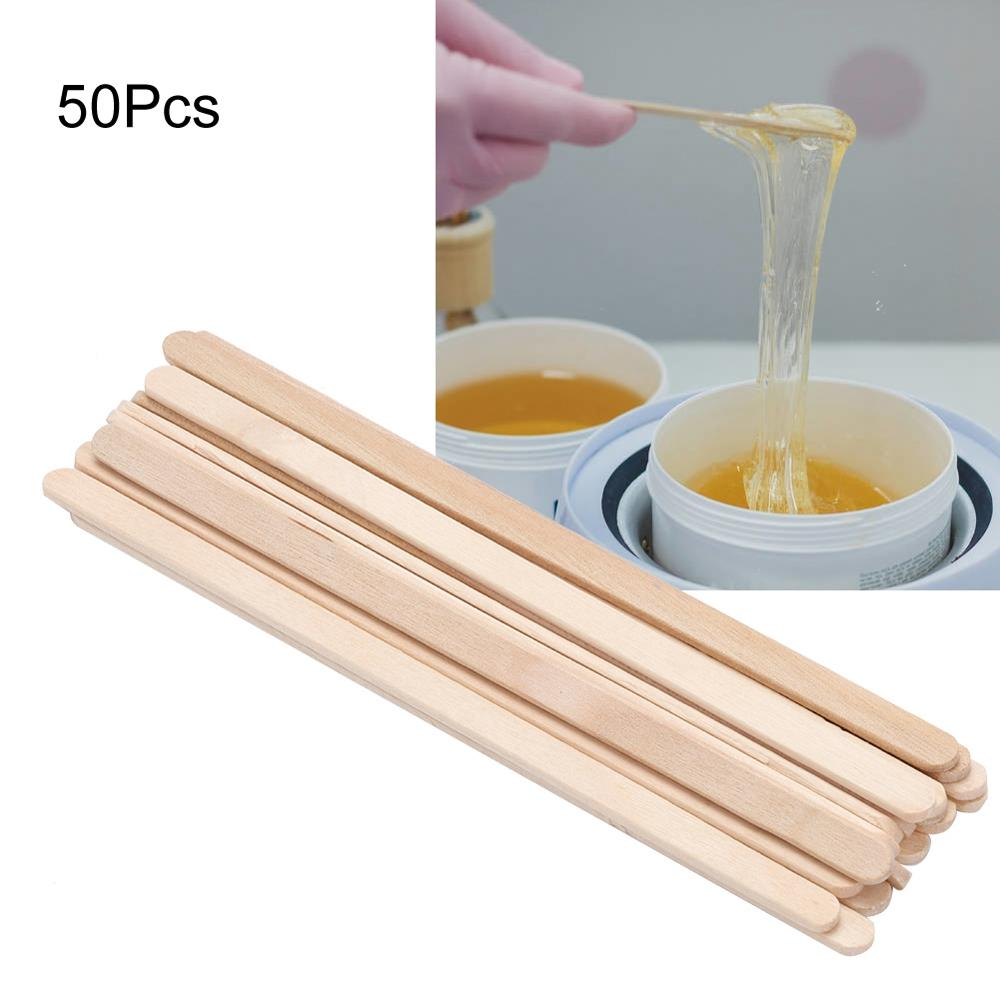 50Pcs Disposable Wooden Depilatory Wax Applicator Stick Spatula Hair Removal Tools Waxing Stick Tongue For Beauty Tools