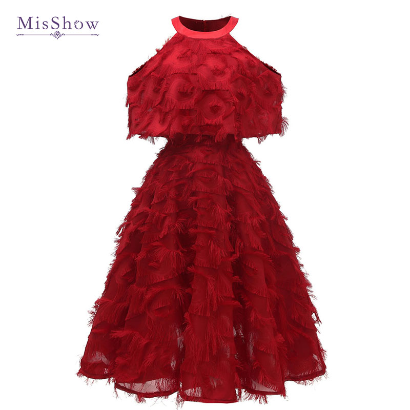 Robe De Soiree Tassel Short   Cocktail     Dresses   Sexy Off Shoulder Burgundy Prom   Dresses   Pink A-Line Party Formal   Dress