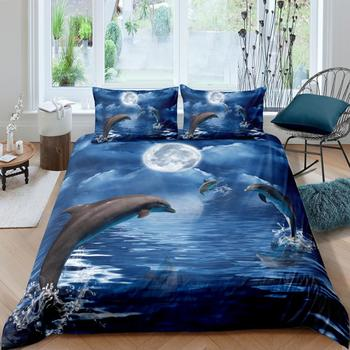 Dolphin Bedding Set Sea Nature Fashionable Moon Night Duvet Cover King Queen Twin Full Single Double Unique Design Bed Set