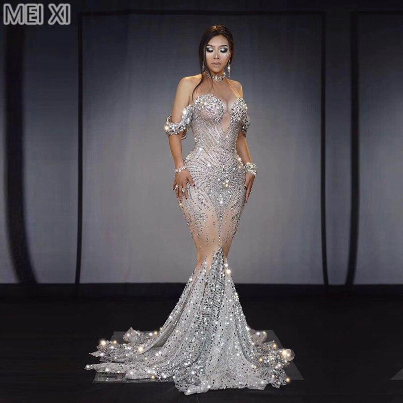 Sparkling Silver Sequins Large Diamond Dress Birthday Celebration Party Banquet Evening Dress Concert Ball Singer Dress