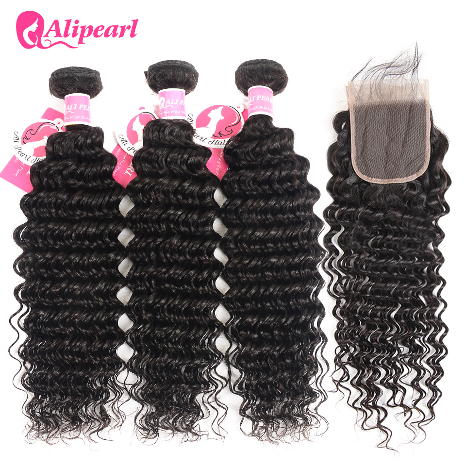 AliPearl Hair Deep Wave Bundles With Transparent Lace Closure Brazilian Human Hair 3 Bundles With Closure Remy Hair Extension