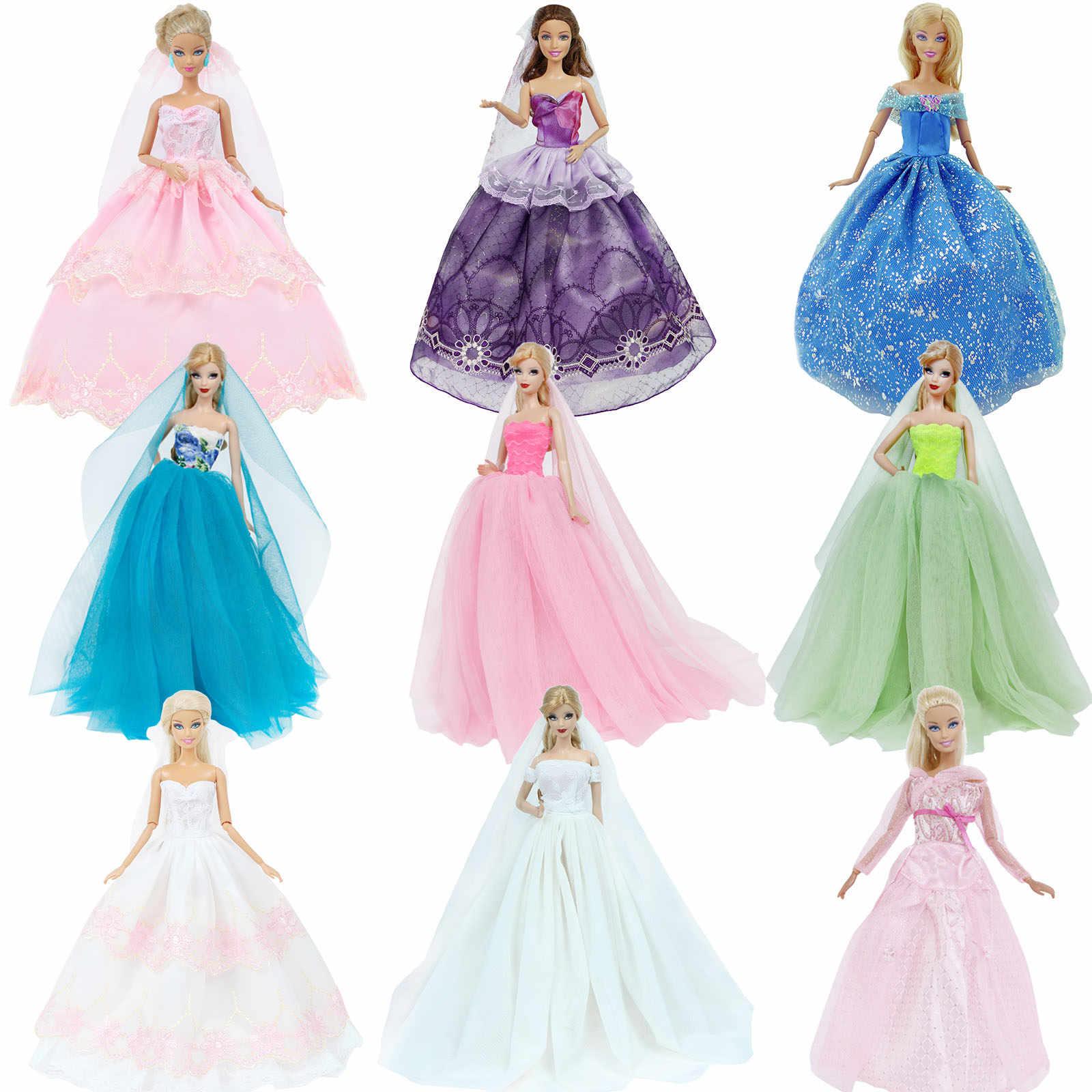 Handgemachte Hochzeit Kleid Prinzessin Abend Party Ball Lange Kleid Rock  Braut Schleier Kleidung Für Barbie Puppe Zubehör weihnachten DIY Spielzeug