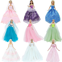 Handmade Wedding Dress Princess Evening Party Ball Long Gown Skirt Bridal Veil Clothes For Barbie Doll Accessories xMas DIY Toy