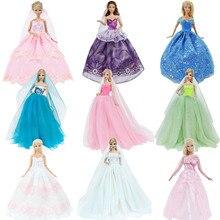 Vestido de novia hecho a mano princesa fiesta de noche bola vestido largo falda velo de novia ropa para accesorios de la muñeca Barbie Navidad juguete DIY