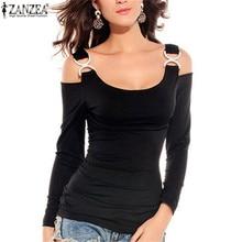 Casual Shirts Blouses Rhinestone Women Spring ZANZEA Sexy Off-Shoulder Plus-Size Tops
