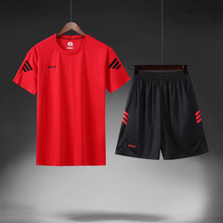 Summer Sports Set Men's Fitness Short Sleeve T-shirt MEN'S Shorts Mesh Running Loose Casual Sports Clothing Large Size