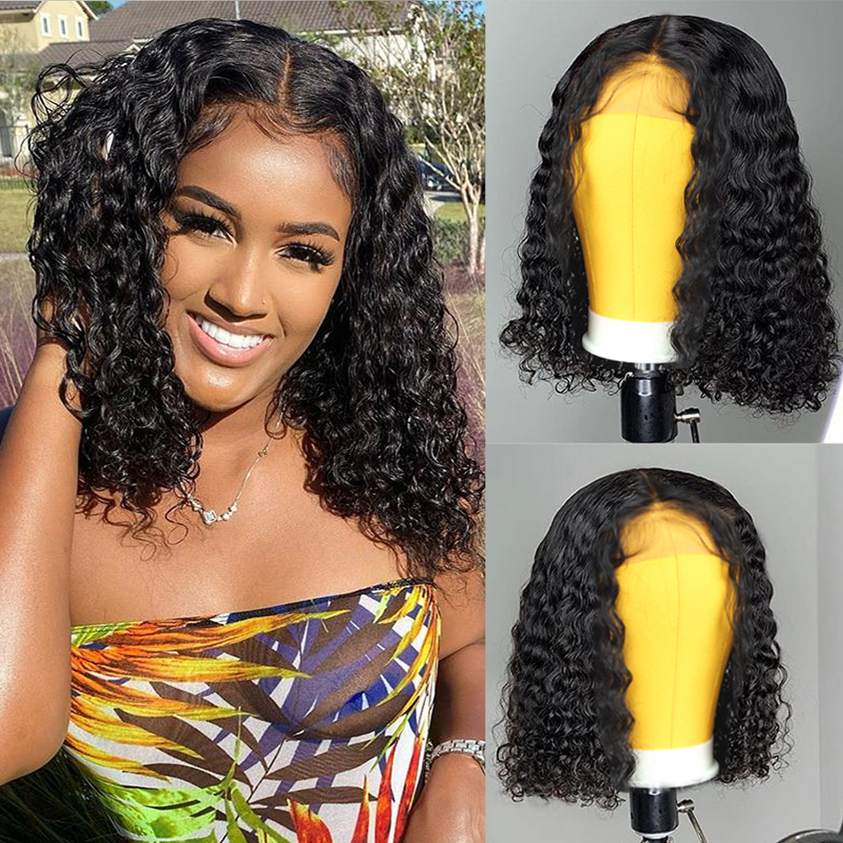 Brazilian Curly Human Hair Wig Lace Wig Human Hair For Black Women 4*4 Short Bob Kinky Curly Closure Wig Perruque Cheveux Humain