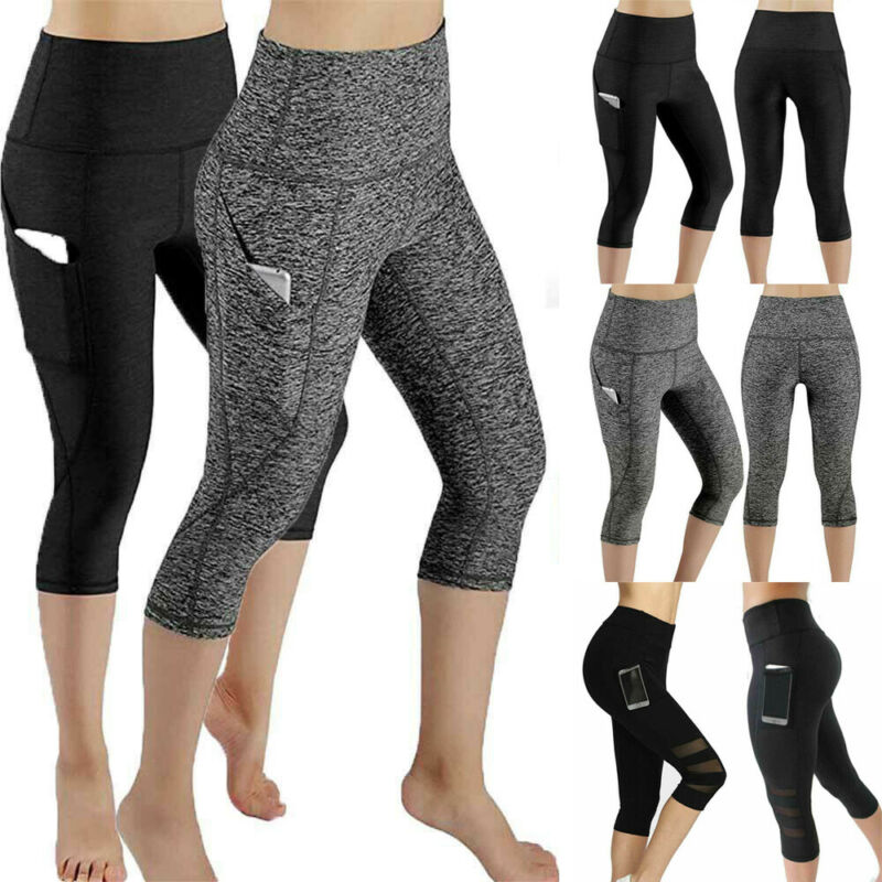 Women High Waist Yoga Pants Capri Pockets Fitness Gym Stretch 3/4 Mesh Leggings Workout Gym Clothing Sportswear