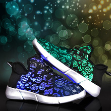 Size 40-45 New Summer Led Luminous Male Shoes USB Recharge Glowing Sneakers Man Light up Neon Casual Shoes Zapatos Mujer P20
