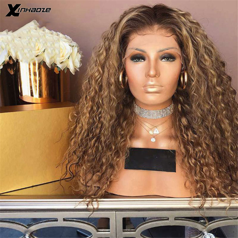 Ombre Blonde Curly Wig 13x6 Lace Front Human Hair Wigs Pre Plucked Ombre 1B/30 Color Brazilian Remy Hair Baby Hair