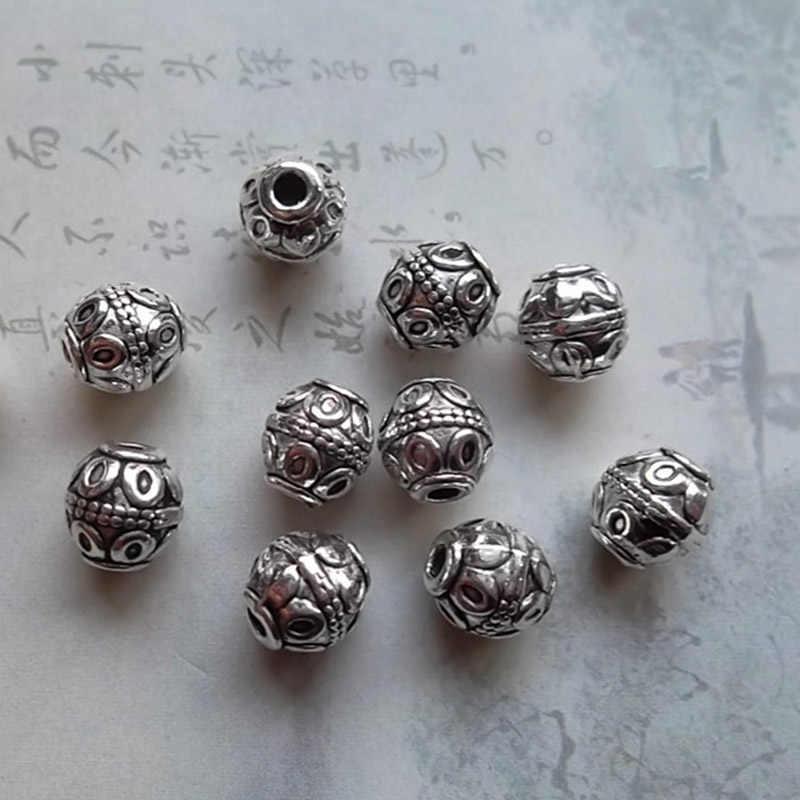50 sztuk/partia klasyczne podwójna głowica Lotus za baryłkę koraliki modułowe 7x8mm tybetański srebrny, ręcznie robione, luźne paciorki DIY ocena biżuteria