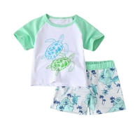 New Baby Boys Clothing Suit Turtle Pattern Casual Clothes Gentleman Style Shirt + Pants 2 Pieces Clothing For Boys Summer Set