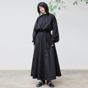 Lanmrem pode enviar hubble-bolha manga longa camisa estilo vestidos famale 2020 primavera novo design nicho temperamento preto vestido yh996