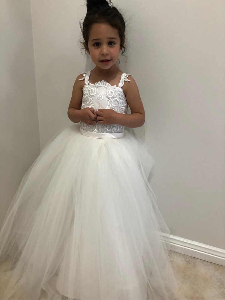Vestidos De Niña De Flores De Tul Blanco Vestido De Baile Sin Mangas Aplique Princesa Chico Cumpleaños Desfile Vestidos De Santa Comunión