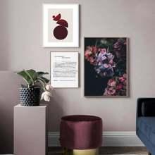 Скандинавский фиолетовый макроцветы сад геометрический Холст