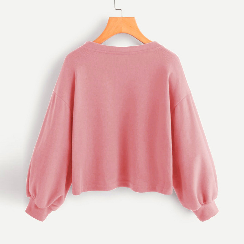 Jaycosin Fashion Women Solid Casual V-neck Lantern Sleeve Sweatshirt Casual Cool Chic New Look Hooded Pullover Tops Blouse 3