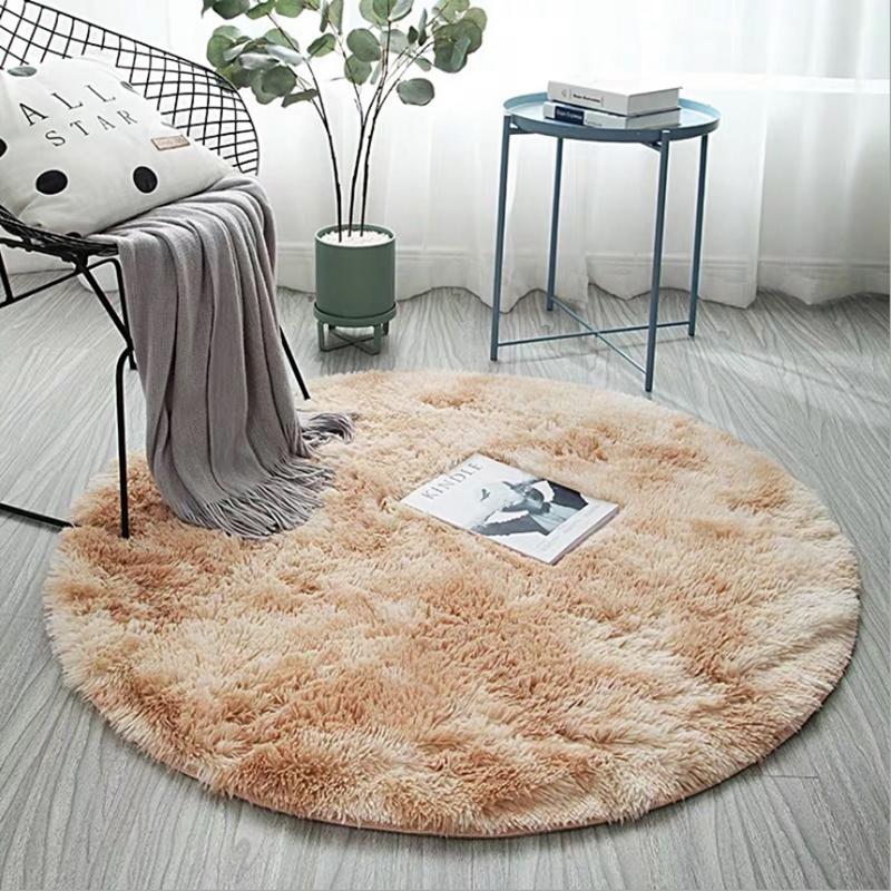 Nordic Modern Tie-dye Round Carpet Living Room Bedroom Rugs Coffee Table Mats Fluffy Plush Gradient Carpet Gray