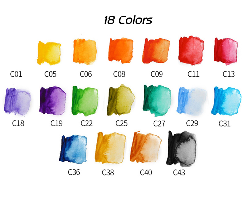 Superior 18253342colors Solid Watercolor Paint Set With Water Brush Pen Portable Water color Pigment For Drawing Art Paint (6)