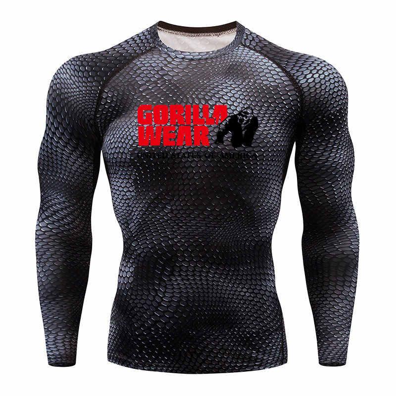 2020 الرجال الغوريلا الجري تي شيرت ثعبان الصالة الرياضية الملابس اللياقة البدنية أفضل Rashguard ملابس كرة القدم التجفيف السريع تيشرت رياضي الرجال عيد الميلاد