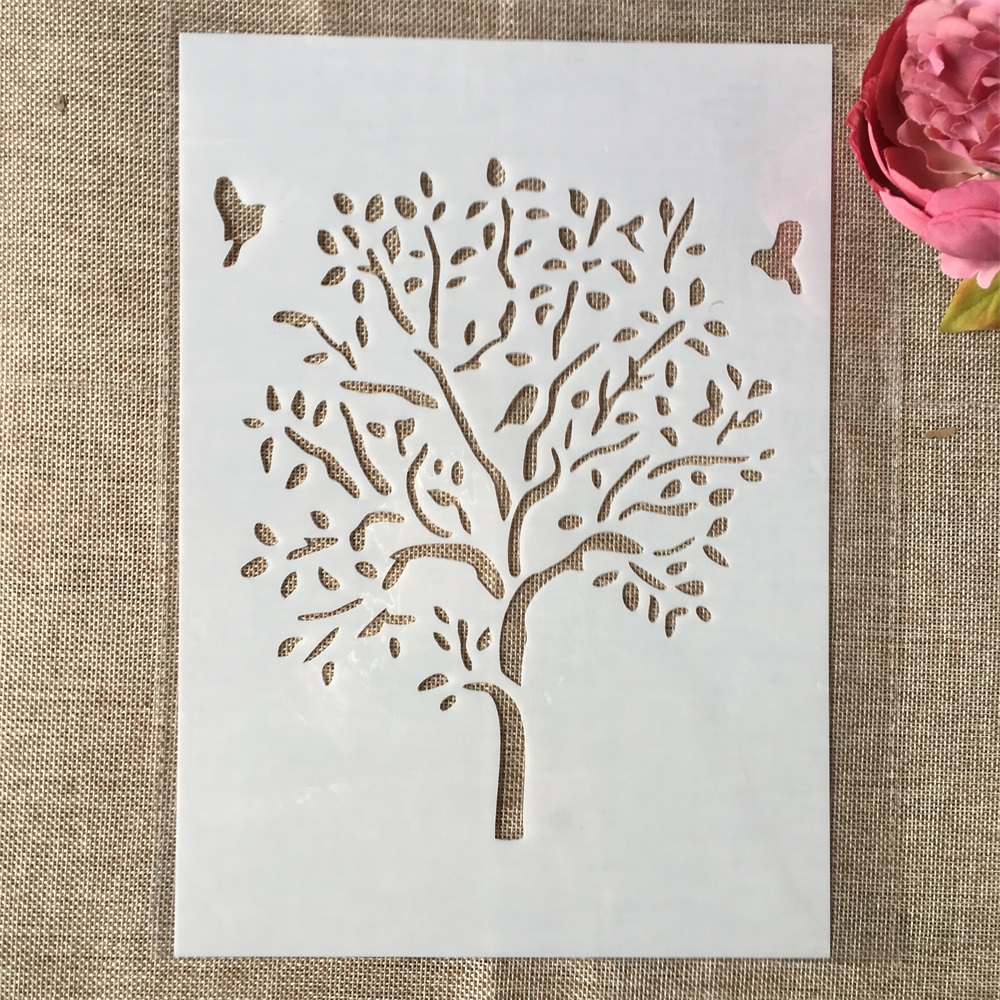 29cm A4 Big Tree DIY Layering Stencils Wall Painting Scrapbook Coloring Embossing Album Decorative Paper Card Template