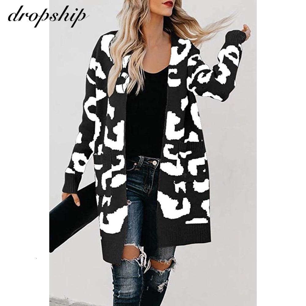 Women Long Sleeve Leopard Print Long Sleeve Cardigan Open Front Jacket Coat