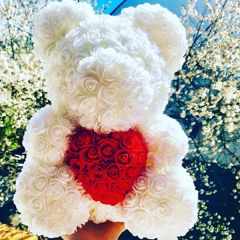 Dropshipping Christmas Decoration 40cm Artificial Rose Teddy Bear Heart Bear of Roses Women Valentines Day Wedding Gifts