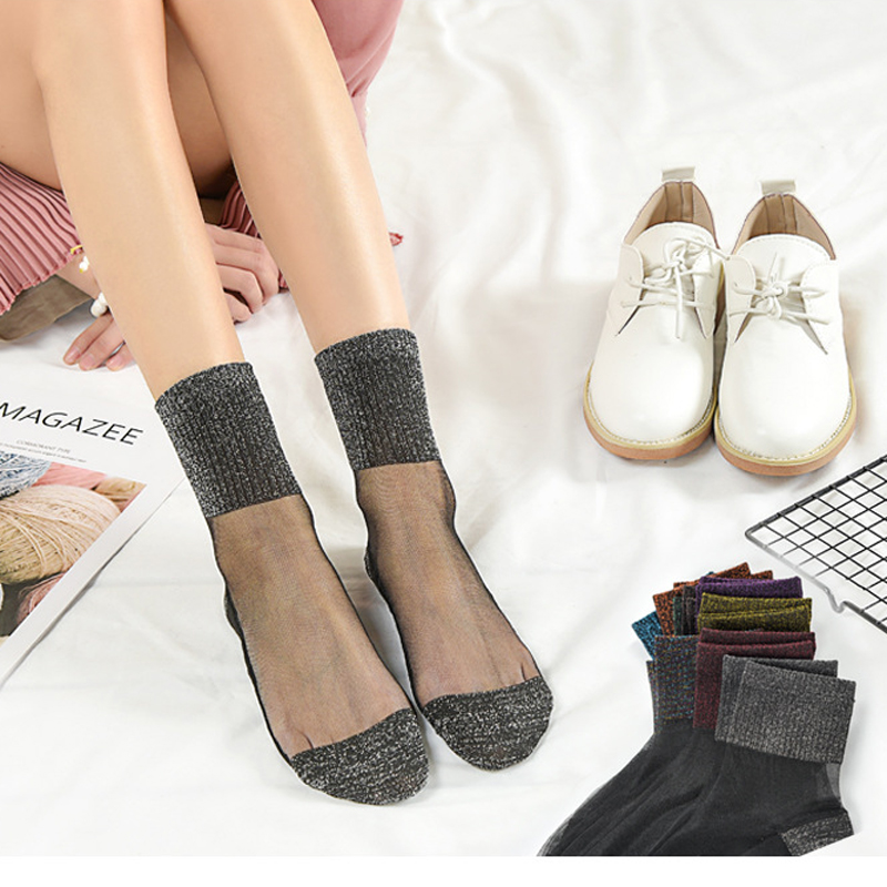 1/2/3/4/5pair Women Ultrathin Transparent Socks Nylon Socks Glitter Crystal Glass Silk Meias Lace Shiny Elastic Short Socks Sox