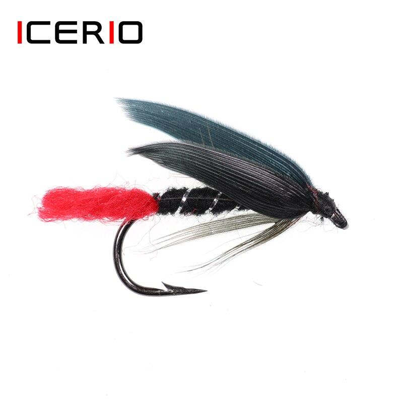 ICERIO 6PCS Schwarz Flügel Rot Schwanz Fliegen Binden Haken Nass Fliegen Nymph Larve Trout Fishing Fly Lure Köder #10