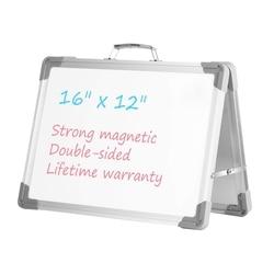 Pizarra blanca de borrado en seco 16 pulgadas x 12 pulgadas pizarra magnética de escritorio de doble cara caballete portátil con soporte y soporte para niños Teac