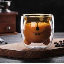 270 мл, двойная кофейная чашка, высокое боросиликатное стекло, чашка для холодных напитков, чашка для горячих напитков, милый медведь, стекло для молока, стекло для чая и молока