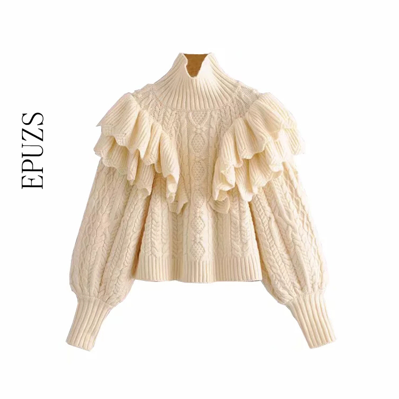 Elegant Ruffle Turtleneck Sweater Women Pullovers Long Sleeve Knitted Sweater Casual Pull Femme Winter Clothes Women 2019