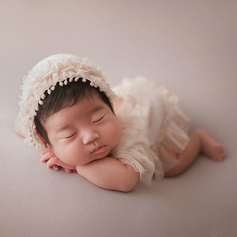 2Pcs Newborn Photography Props Suit Lace Romper Hat Set Knit Outfits Clothing D7YD