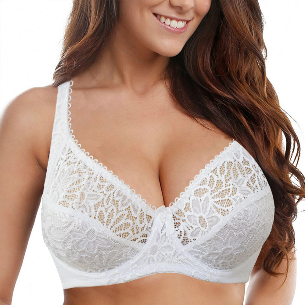Womens Lace Bras Transparent Underwire Bra Sexy Lingerie Underwear Perspective Plus Size Bralette Large Cup 34-44 B C D DD E F 1