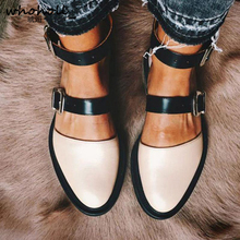 Autumn Flat Shoes Women Double Buckle Leather Ankle Strap Ladies Mixed Color Casual Comfort Female Fashion Footwear