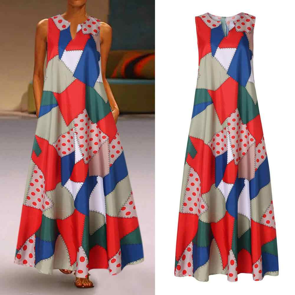 Zomer Strand Maxi Jurk Vrouwen Bloemenprint Casual Mouwloze V-hals Vintage Sexy Party Dress Robe Femme
