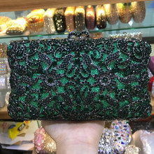 Luxury Dark Green Crystal Clutch Party Purse Fashion Crystal Women's Handbag XIYUAN Brand Female Dinner Messenger Clutches(China)