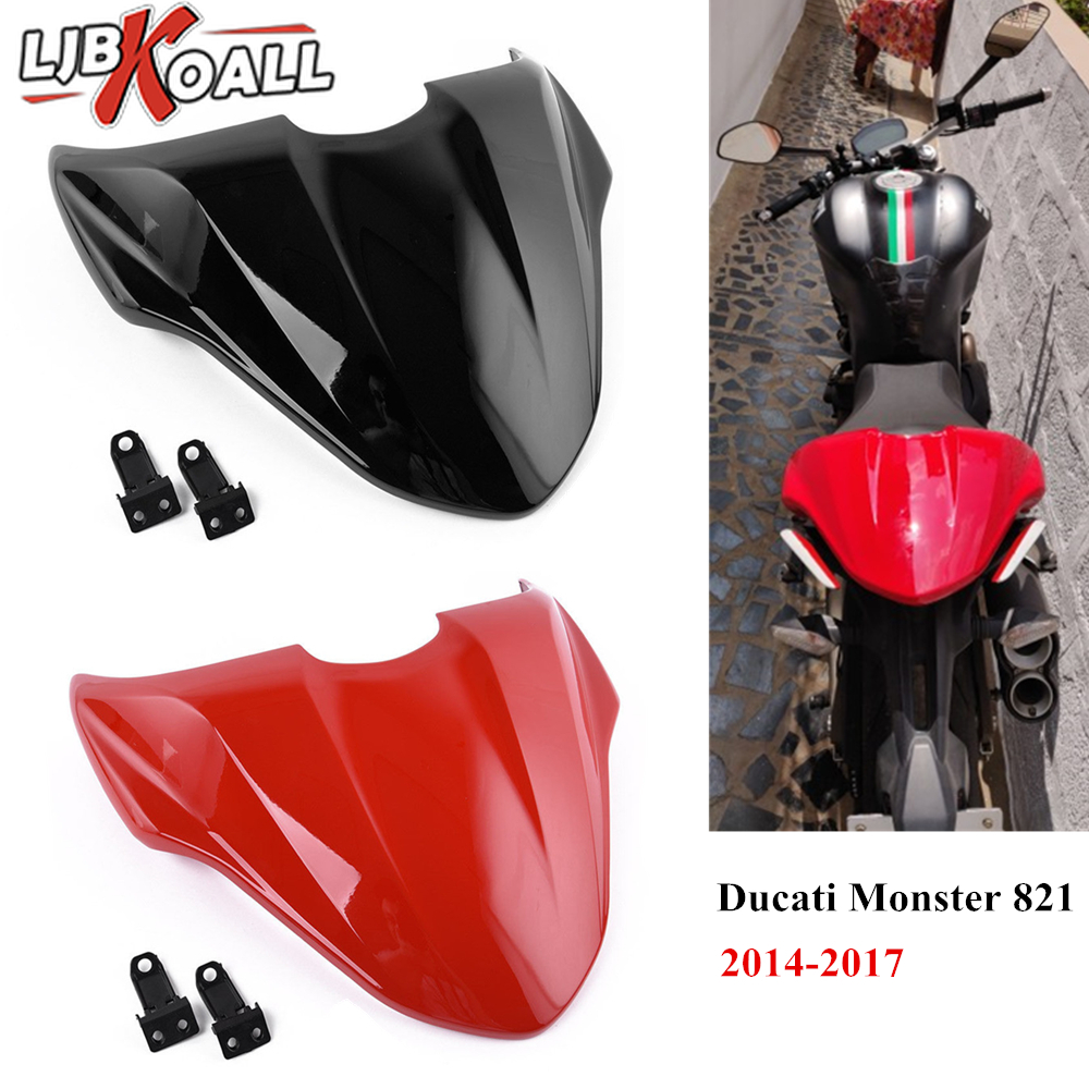 For Ducati Monster 821 2014 2015 2016 2017 Motorcycle ABS Rear Pillion Passenger Hard Seat Cowl Cover Section Tail Fairing Red