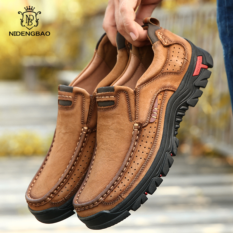 Hot Sale Genuine Leather Shoes Men Comfortable First Layer Cowhide Sneakers Men Breathable Non-Slip Casual Shoes Big Size 38-50
