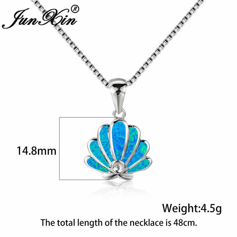 Cao Cấp Xanh Dương Trắng Fire Opal Vòng Cổ Xà Cừ Sò Điệp Mặt Dây Chuyền Nữ Bạc 925 Màu Sắc Vỏ Cưới Choker Nữ Trang Sức