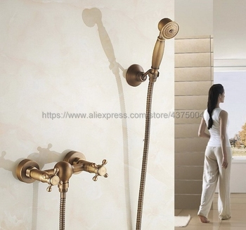 Free Shipping Antique Brushed Brass Bathroom Shower Faucet Bath Faucet Mixer Tap With Hand Shower Head Set Wall Mounted Ntf301