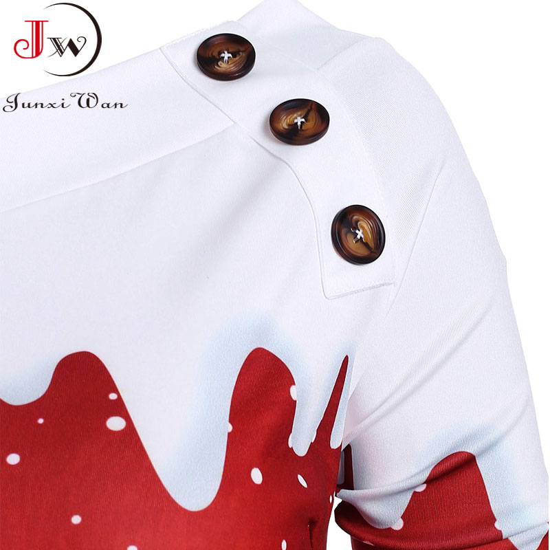 Christmas Hoodies Sweatshirts Women Autumn Winter Slash Neck Long Sleeve Snowman Print Pullovers Casual Warm Tops 4