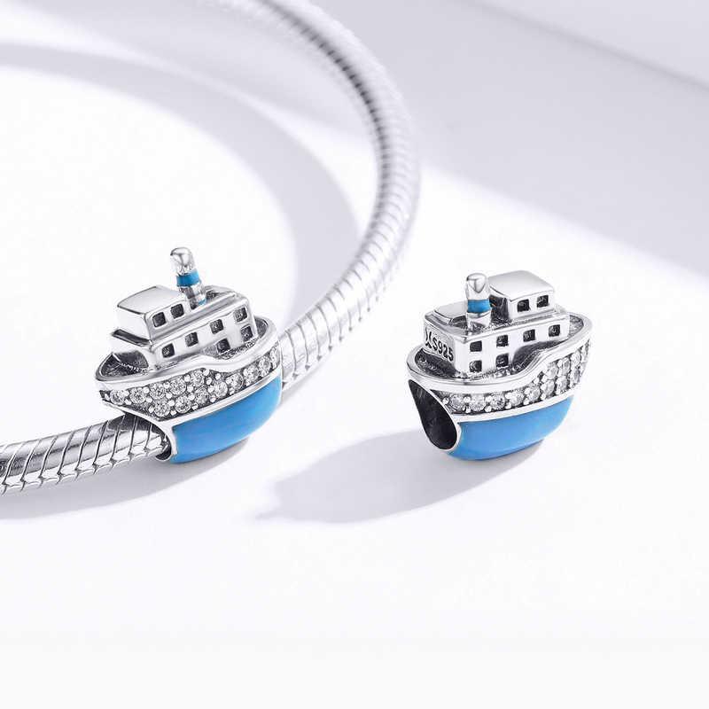 MOWIMO 925 Sterling Zilveren Reizen Cruiseschip Kralen Blauw Charms Fit Originele Pandora Armband Ketting Mode-sieraden BKC1379