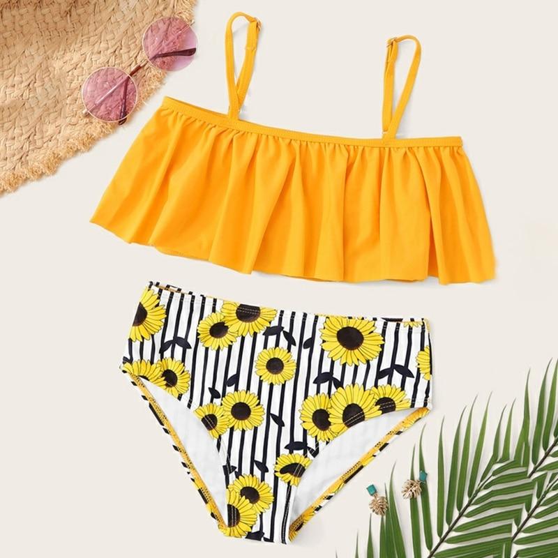 Girls Leaf Print Ruffle Bikini Set Two-piece Swimsuit eachwear Pool Two Pices Swimsuit Kids Swimsuit Baby Girls Swimwear(China)