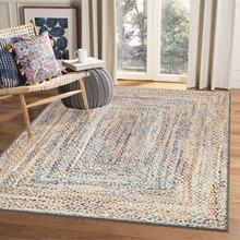 Osso Blue Yellow Dikdörtgenler Jute Straw Looking Washable Living Room Rug