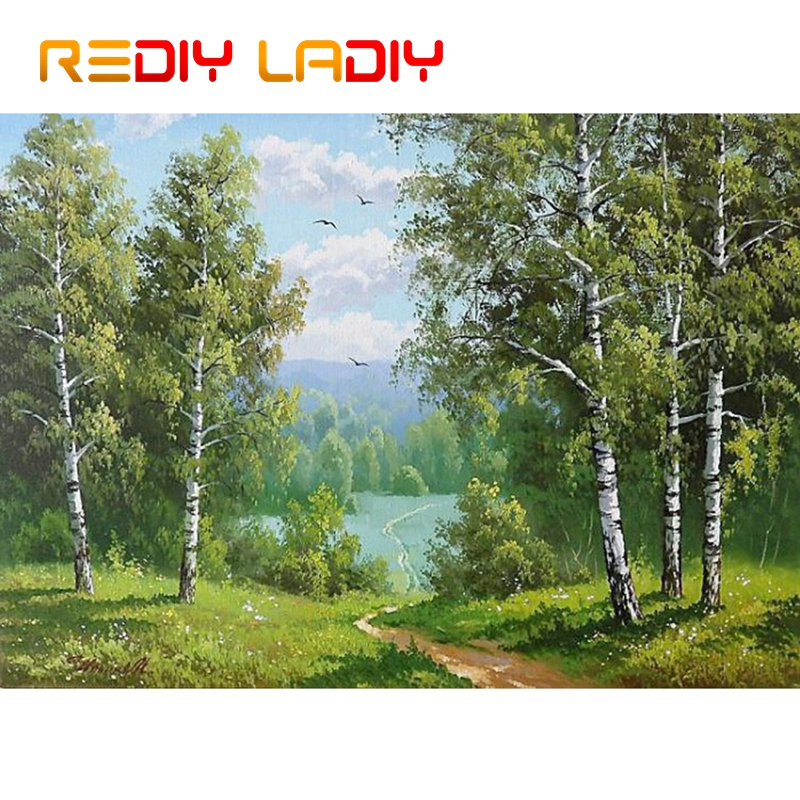 DIY Beaded Embroidery Kits Birch Forest Scenery Needlework High Quality Beads Partial Crystal Beaded Cross Stitch Hobby & Crafts