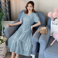 6655# V neck Button Open for Nursing Slim Waist Maternity Long Dress Summer Korean Fashion Clothes for Pregnant Women Pregnancy