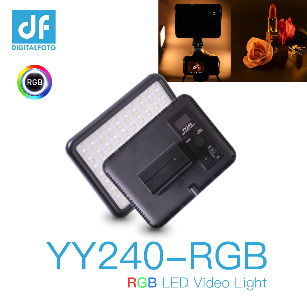 Video YY240 2500 8500K Dimming RGB LED Continuous Panel Light Background Light for Camera Camcorder Full Color with 10 Lighting|Photographic Lighting| |  - title=