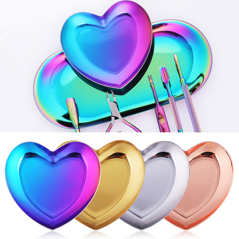 1 Pc Metal Heart Triangular Nail Rhinestone Tray Decorations Tips Container Palette Gold Silver Purple Mixed Color DIY Nail Tool