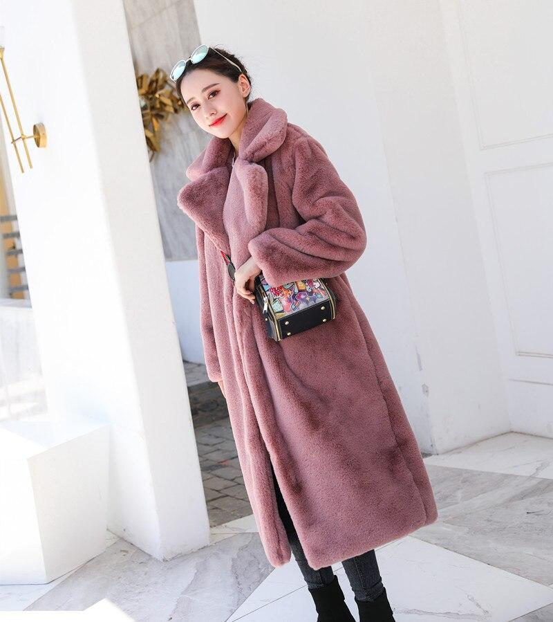 Зимняя новинка Женская мода Стиль чистый цвет теплый толстый искусственный мех кролика пальто XHSD-426 - Цвет: Pink